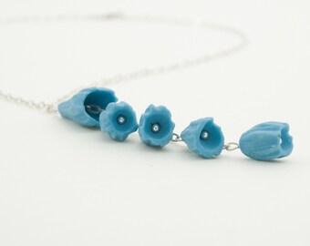 Porcelain Blue Flower Necklace Pendant , Sterling Silver Hammered  Necklace , Handmade Floral Porcelain Jewelry