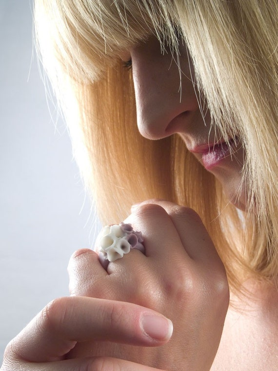 Purple White Flower Ring, Porcelain Ceramic Ring - Las Canteras , Flower Purple Wedding Ring, Unique Artisan Jewelry, Hand Crafted Jewelry