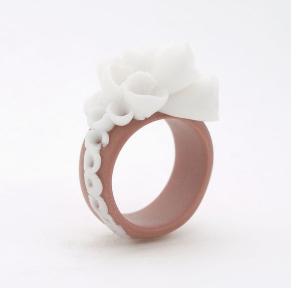 Flower Statement Cocktail Ring , Coral Brown White Porcelain  - Champs Elysees ,  Porcelain Bold Cocktail Ring, Statement Jewelry