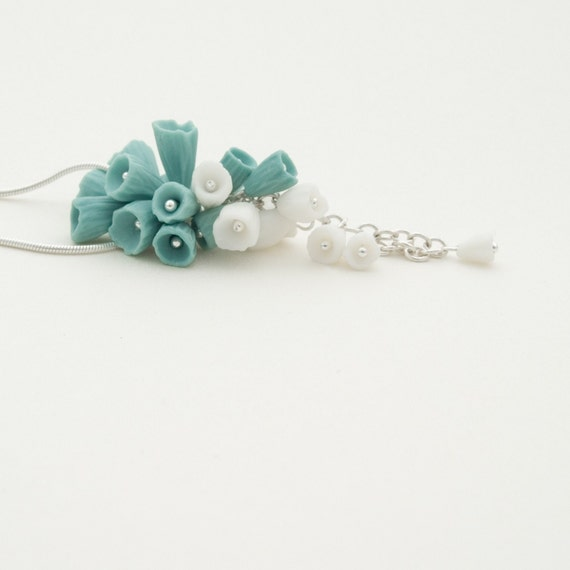 Turquoise White Statement Necklace, Sterling Silver Necklace Porcelain Teal Flower Pendant, Floral Artisan Handmade Jewelry Wedding - Lanai