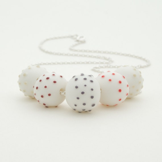Sterling Silver Necklace With Dotty Colorful Ceramic Porcelain Beads , White Beads Red , Purple , Green Dots, Geometric Porcelain Jewelry