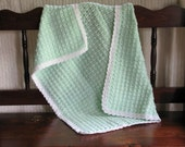 Soft and Snuggly Hand Crocheted Baby Blanket - Mint