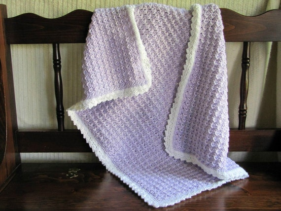 Soft and Snuggly Hand Crocheted Baby Blanket - Lovely Lilac