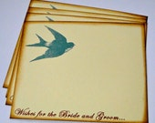 Wedding Guest Book Alternative Cards - Set of 50 - Blue Turquoise Sparrow Bird Wedding Wishes