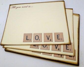 Wedding Guest Book Alternative Cards - Set of 50 - Scrabble Love Cards