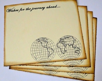 Wedding Guest Book Alternative Cards - Set of 50 - Vintage Map Globe Wedding Wishes - travel theme - destination - journey - wanderlust away