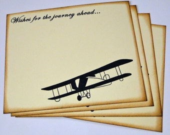 Wedding Guest Book Alternative Cards - Set of 50 - Vintage Travel Airplane Wedding Wishes