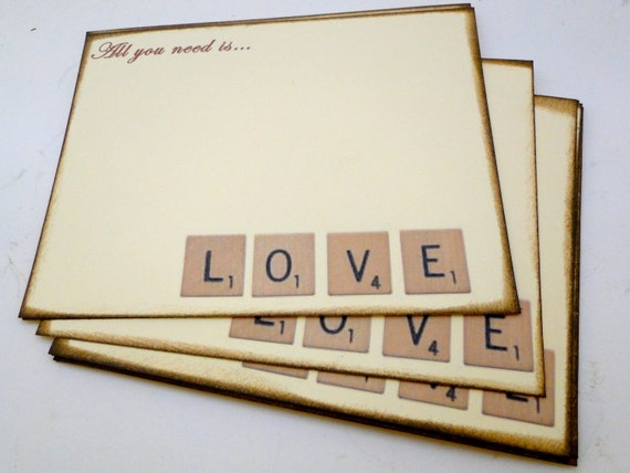 Wedding Guest Book Alternative Cards - Set of 50 - Scrabble Love Cards