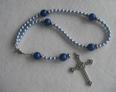 Sea Blue pearl and silver rosary