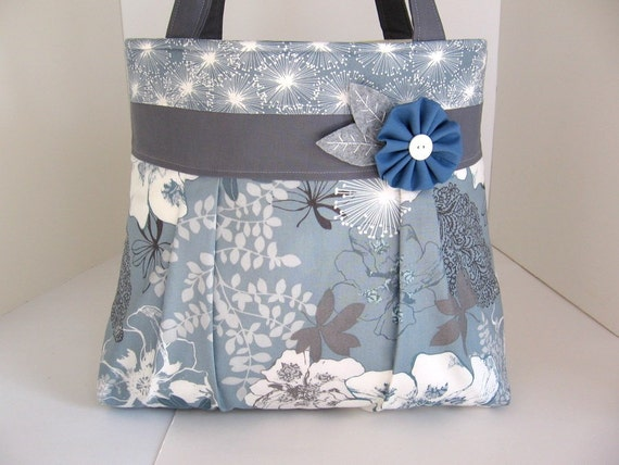 Etchings in Blue Pleated A-Line Bag