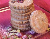 Rosewater Pistachio Shortbread Cookies - Perfectly light and luscious