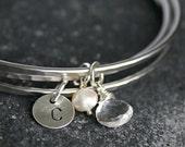 Personalized rock crystal bracelet, April birthstone, stacking bangles, personalized birthstone jewelry, gifts under 35usd - Gracie