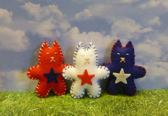 Patriotic cats gift set / red white and blue / stars home decor