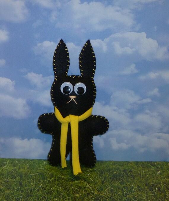 custom order for cutestlittleredhead bunny / black synthetic felt rabbit / stuffed animal toy gift