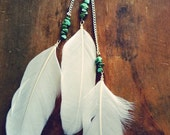 Turquoise Beaded Long Feather Hair Clip/ Feather Hair Accessories/ Turquoise Accessories/ Natural Gem Stone/ White Feather Hair Extenstion