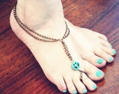 Turquoise Peace Slave Anklet, Chain Anklet, Body Jewelry, Toe Ring