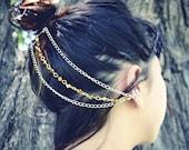 Silver Chain Ear Cuff- Gold Beaded