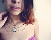 Silver Cross Peter Pan Chain Collar Bib Necklace