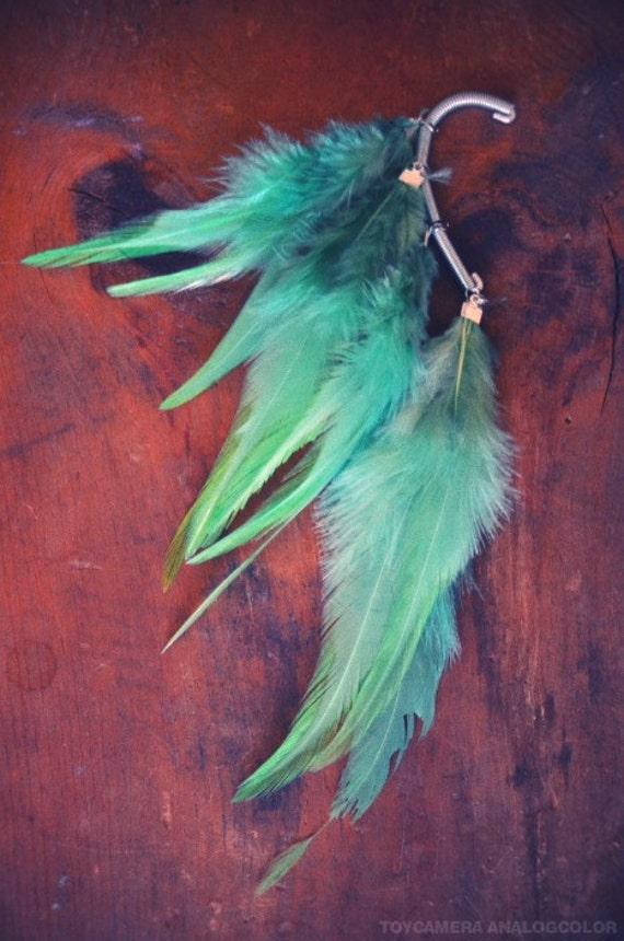 Mint Eclipse Feather Ear Cuff