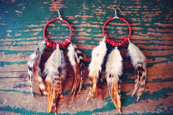 Red Turquoise Feather Hoop Earrings