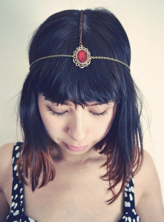 Vintage Red Jeweled Head Chain