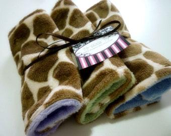 Lil Washies- set of three tan giraffe print wash cloths- ALL minky baby wipes