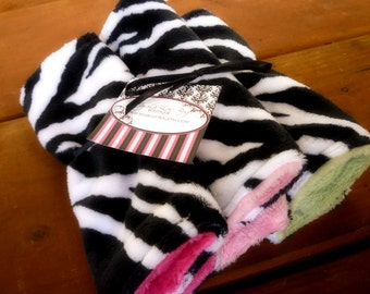 Lil Washies- set of three zebra print baby wash cloths-  ALL minky