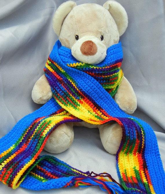 Rainbow Crochet Scarf with Blue Edge Acrylic Scarf