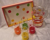 Summery Tray with Glass Pitcher and matching glasses
