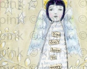Don't Worry Angel mounted mini art print