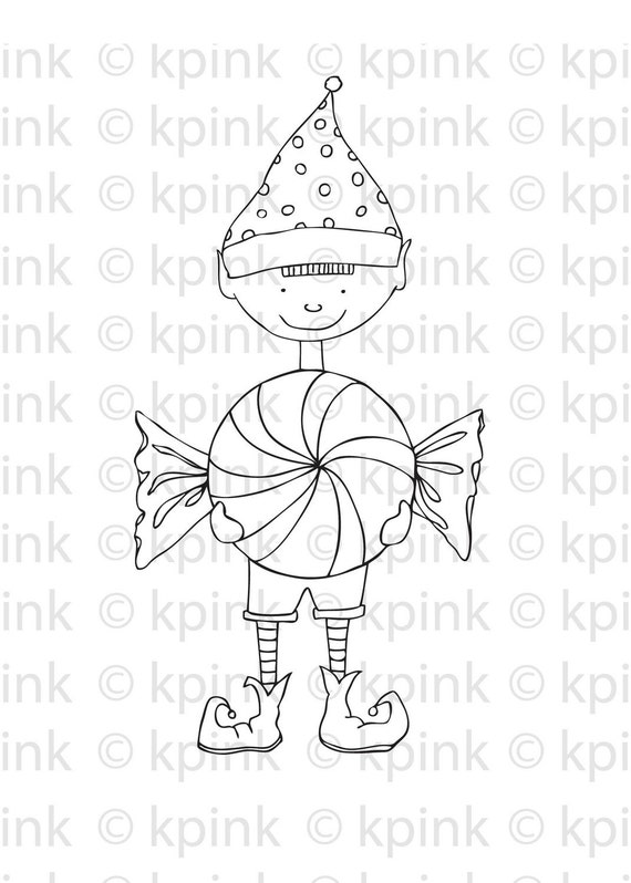 sweet on you elf original illustration download black & white image to color and craft