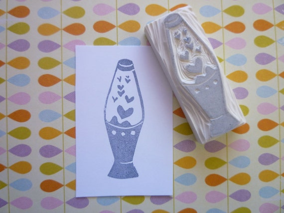I lava you- lava lamp hand carved rubber stamp