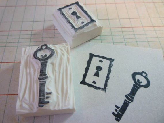 Lock and Key hand carved rubber stamp set