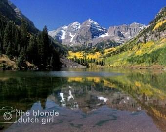 Mountain Photo / Maroon Bells / Aspen Colorado / Photograph of Colorado / Rocky Mountains Photograph