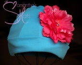 Boutique Trendy Girl's Cotton Knit Hat and Gorgeous Hot Pink Peony
