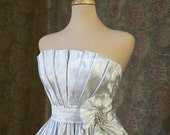 Linnea - Silver Brocade Retro Style Tea Length Wedding Dress.