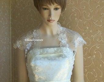 Ivory Lace Bolero Jacket. Vintage Inspired Look and Feel.