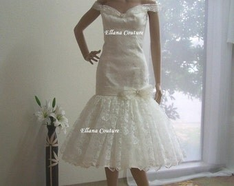 Lola - Vintage Inspired Lace Tea Length Wedding Dress.