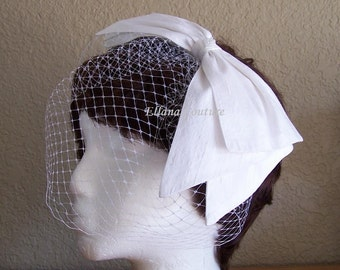 Birdcage Veil with Large Silk Bow. Vintage Inspired Headpiece.