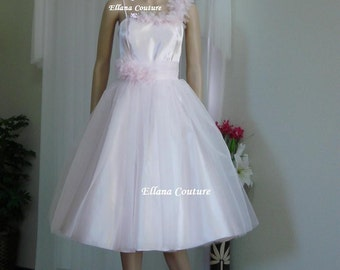 SAMPLE SALE. Josette - Vintage Inspired Satin and Organza Tea Length Wedding Dress.
