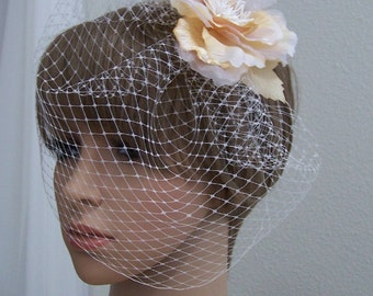 Birdcage Veil with Multi Color Flower. Vintage Inspired Headpiece.