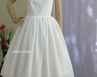 Daisy - Cotton Eyelet Wedding Dress. Retro Inspired Style.