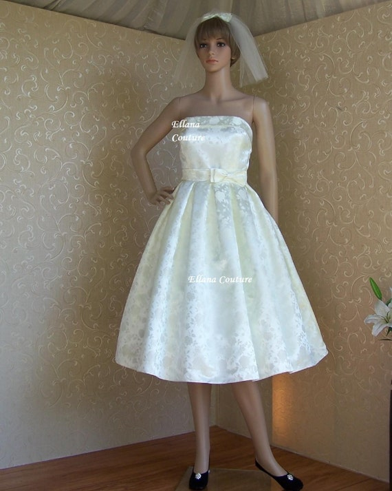 Sample SALE. Rosalie - Vintage Style Tea Length Wedding Dress. Beautiful Brocade.