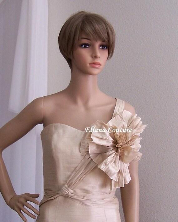 Yvette - DAZZLING Vintage Inspired Doupioni Silk Wedding Dress.