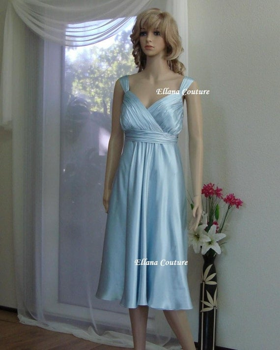 Sample Sale Silk Charmeuse Wedding Dress Tea Length Bridal