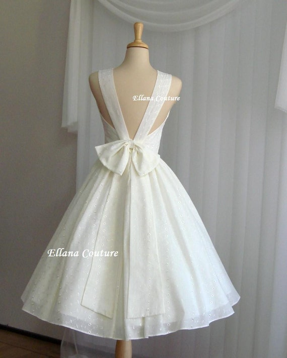 Maggie - Buttercream Eyelet Cotton Wedding Dress. Also Available in White.
