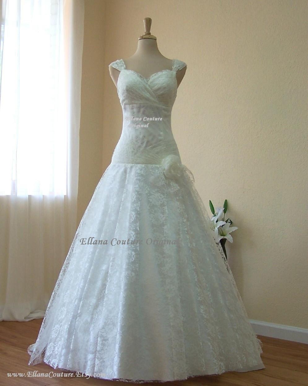 Jasmine Vintage Glamour Ivory Lace Wedding Dress. Super