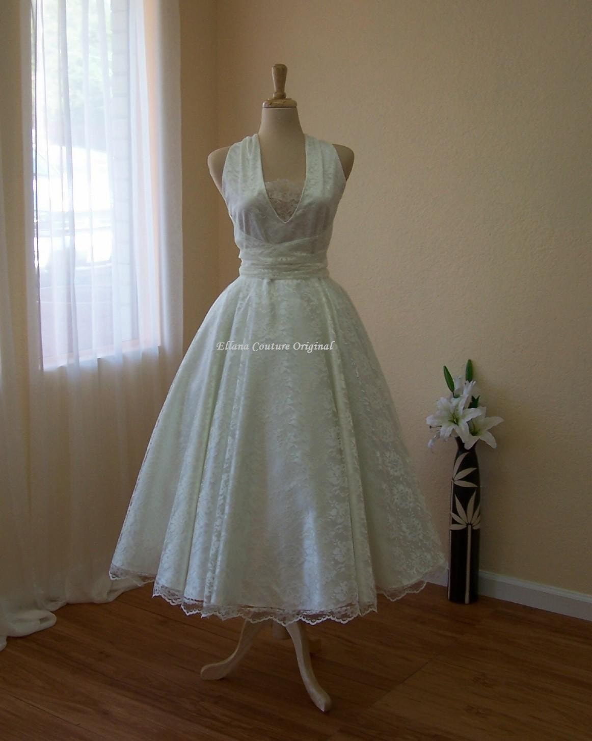 Retro Style Wedding Dress Wrap Around Tea Length Bridal Gown
