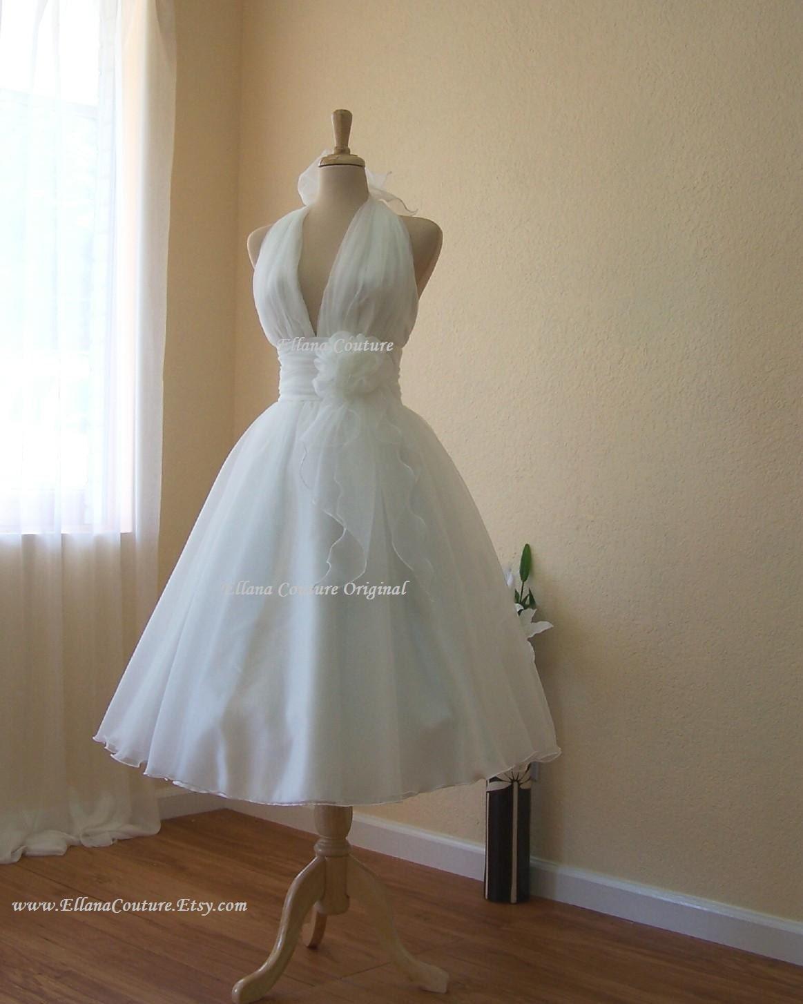 Lily Retro Inspired Tea Length Wedding Dress Vintage Style