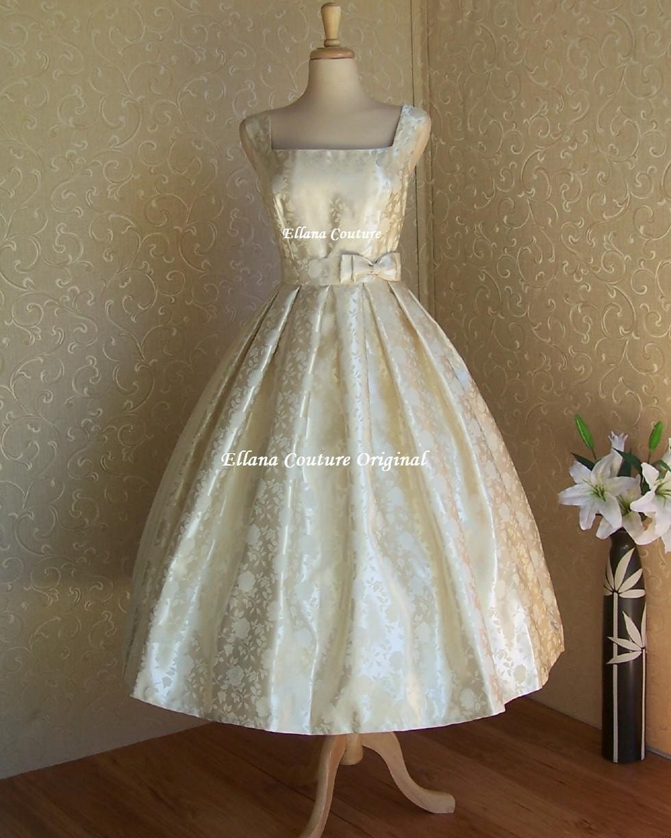 Rosette vintage inspired tea length wedding dress for Vintage wedding dresses tea length